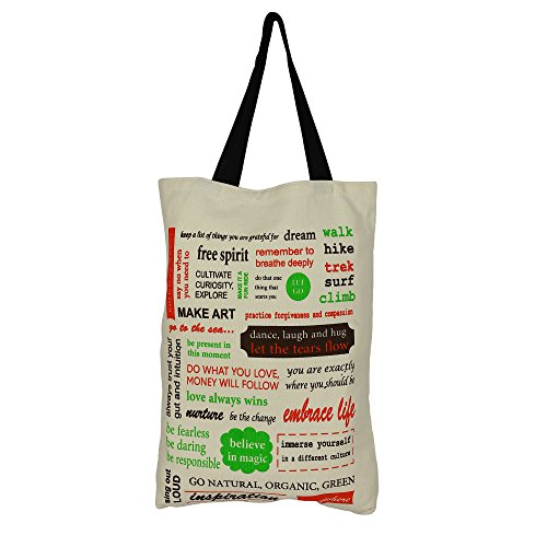 Toile de coton Multipurpose Shopping Bag Taille - H-45 x W-38 cm, 25 cm - Sangles