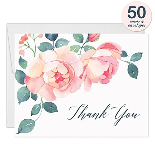 Gorgeous Pink Blüten Thank You Karten mit Umschläge (50Stück) blanko gefaltet alle Anlass durch Aufstellkarten Geburtstag Graduation Baby Bridal Dusche Hochzeit Thank You Hervorragende Wert vt0020