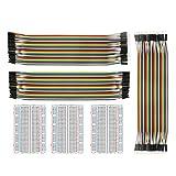 Jumper Wire con Breadboard – alleu Bj de 018 3pcs 400 Pin Breadboard y 40 x 20 Female de Female, male de Male, female de Male Cable ranuras Puentes para Arduino Raspberry Pi