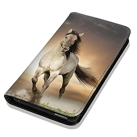 Hülle Galaxy J1 2016 Hülle Samsung J1 J120 Schutzhülle Handyhülle Flip Cover Case Samsung Galaxy J1 2016 J120 (OM1005 Pferd Braun Weiß Hengst)