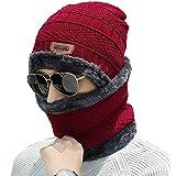 ADBUCKS Snow Proof Inside Fur Wool Unisex Beanie Cap with Neck Warmer Set Knit Hat Thick Fleece Lined Winter Hat for Men & Wo