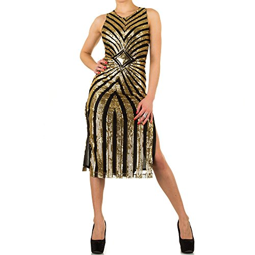Damen Kleid, PAILLETTEN COCKTAIL PARTY KLEID, KL-H055 Gold