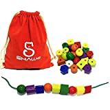 30 Jumbo Lacing Beads,Stringing Bead Set for Toddlers,Include 3 Strings, Carrying Nice SHAWE Bag - Montessori Toys for Fine Motor Skills Autism OT