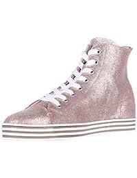 Hogan Rebel Scarpe Sneakers Alte Donna in Pelle Nuove Rebel r182 Oro f9882abdcd9