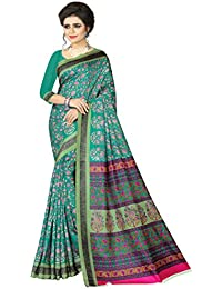 E-VASTRAM Womens Crepe Printed Art Silk Saree(V3125_Green)
