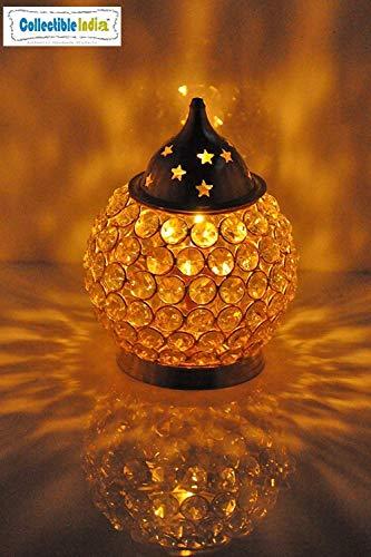 Collectible India Crystal Akhand Diya Decorative Brass Oil Lamp Tea Light Holder Lantern Oval Shape Diwali Pooja Gifts Decoration (Oval Medium)