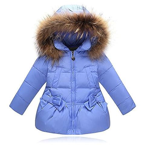 LANOMI Kinder Mädchen Daunenmantel Daunenjacke Parka mit Fellkapuze Winter Snowsuit