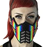 Rainbow Sub Zero Kandi Mask by Kandi Gear, rave mask, halloween mask, beaded mask, bead mask for music fesivals and parties