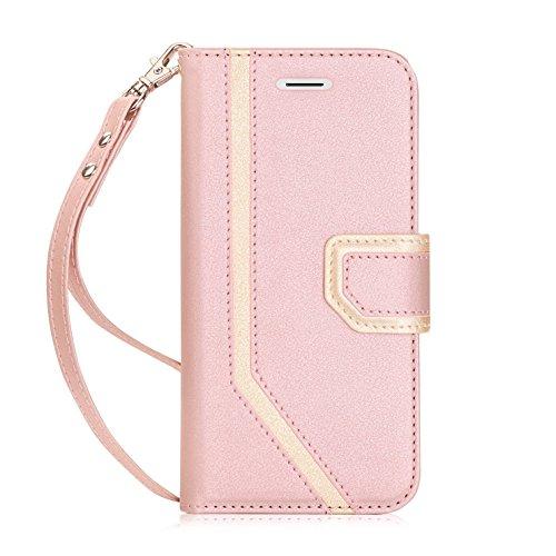 fyy iPhone X Case, iPhone X Wallet Case, [RFID-blockierender Wallet] [Make-up Spiegel] Premium PU Leder iPhone X Edition (2017) Wallet Tasche mit Kosmetikspiegel und Handschlaufe, Rose Gold
