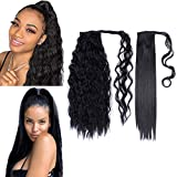 2Pack Long Ponytail Extension 22 Inch Wrap Around Black Synthetic Straight Ponytail Magic Paste Corn Wave Ponytail Hairpiece for Women (1B#, Straight+Corn Wave)