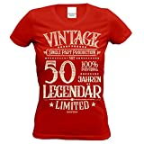 Geschenk Zum Geburtstag :: Frauen T-Shirt Motiv: mit 50 Jahren Legendär IM Retro-Design Vintage Limited Farbe: Rot Gr: S