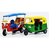 Jack Royal Indian Iconic Tuktuk With CNG Auto Rickshaw Kit (Red & Green) - Combo Pack Of 2