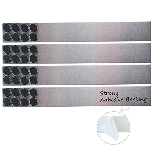 Lockways Magnetisch Whiteboard Streifen Set– 4 Stück 5 x 38 cm Pinnwand Board, Silbrig rostfrei, Starke selbstklebende Memo Board für Büro, Wohnung, Kalender, Fotos, Namensschilder & Papiere(silbrig)