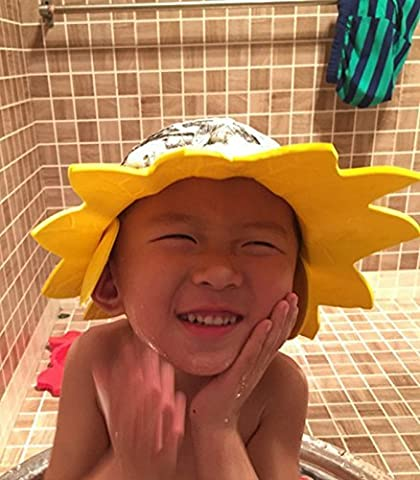 Ibepro® Safe Shampoo Baby Shower Cap Bathing Protection Soft Cap Hat with Ear Protection Pads Comfortable Wash Hair Shield For Toddler's,Baby Children & Kids to keep the water Out of Their Eyes & Face(Yellow)