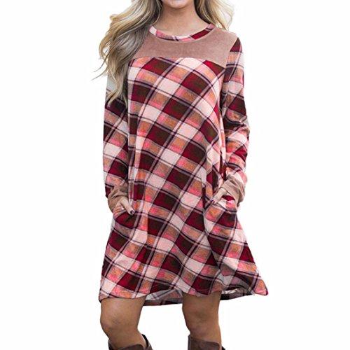 Longra Damen Kariertes Kleid Langarmshirt Hemdkleid Shirtkleid Blusenkleid Kleid Mit Taschen Damen Mode Streetwear Oberteil Bluse Tops Frauen Swing Kleid Tunikakleid Minikleid Knielang (Red, xl)