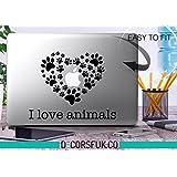I Love animales macbook pegatinas–adhesivos para macbook–vinilo negro huellas, gatos, perros