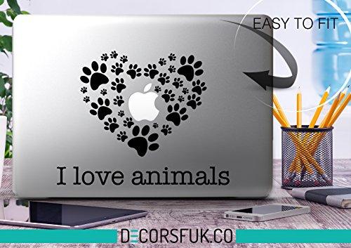 decorsfuk.co Ich Liebe Tiere Aufkleber-Decals für MacBook-Schwarz Vinyl Spuren, Katzen, Hunde