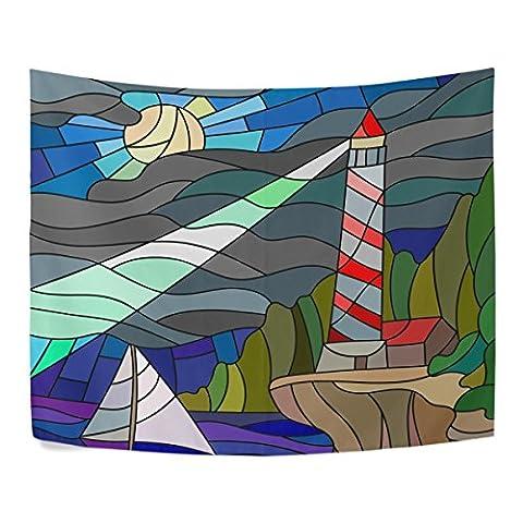 vitrail Phare et voilier du ciel nocturne et la mer Polyester Home Decor tapisseries tentures Taille complète Salon Décoration, Polyester, multicolore, 90x60