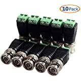 Conwork 10-Pack Screw Terminal Coaxial Cat5 To BNC Male Video Balun Connector