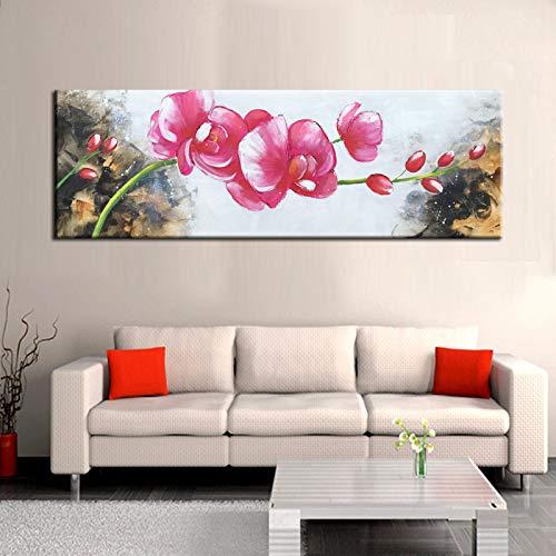 Moderne Abstrakte Poster Und Drucke Wandkunst Leinwand Malerei Aquarell Rote Blume Bilder Wanddekoration Für Wohnzimmer Wand 50X150 cm Kein Rahmen PC6836