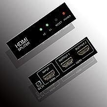 Belfen 1x2 2 puertos HDMI Powered Splitter para Full HD 1080P y soporte 3D (una entrada a dos