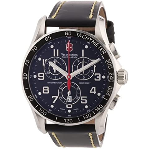 Victorinox Swiss Army - Reloj analógico de cuarzo para hombre con correa de piel, color negro