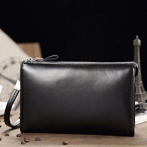 HTB Business-Männer Handtaschen Reißverschluss Casual Clutch Bag Business Große Kapazität Handtasche Schwarz