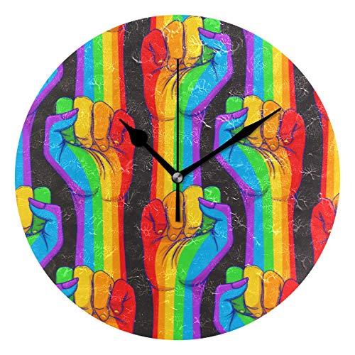 LISUMAL Mano a Strisce Che Mostra Pugno alzato in su,Sveglia Rotonda Senza Scala da 25 cm per Uso Domestico, Display da Parete a Doppio Uso, Stile retrò Rustico colorato Chic