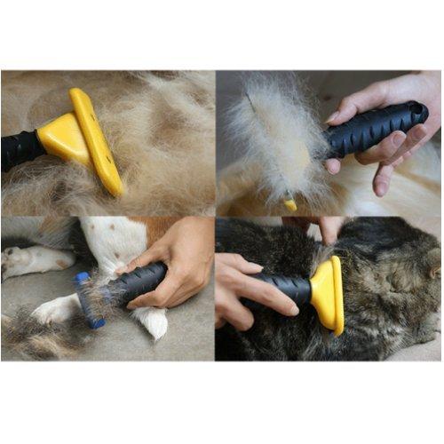 Medium Professionelle große 10,2cm Hund Katze Haustier Ausfallen Werkzeug Bürste Rechen Kamm -