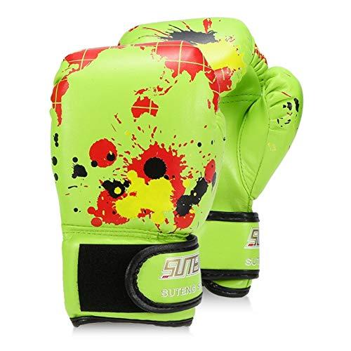 ERHUAN Jungen/Mädchen Boxhandschuhe Leder Boxtraining Schutzhandschuhe Für Kinder Kampf Boxhandschuhe Sicherheitsausrüstungen,Grün,