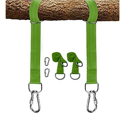 LAMURO Kit para Colgar Columpios de árboles Correas Verde Resistentes de 10 pies, Ganchos de Colgar de Metal y 2 mosquetones