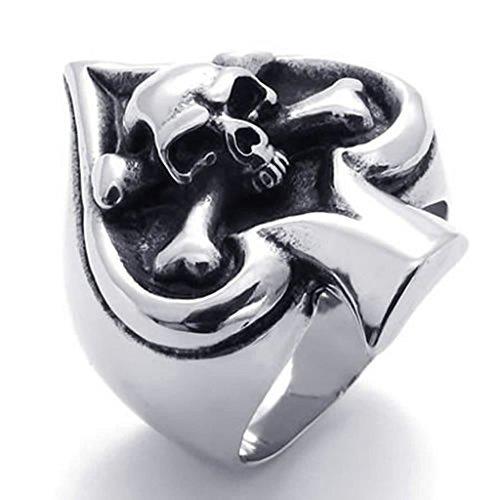 Bishiling Modeschmuck Edelstahl Ring für Herren Spaten Totenkopf Schwarz Ringe für Männer Ringegröße 74 (Damen Weltkrieg Kostüme 2)
