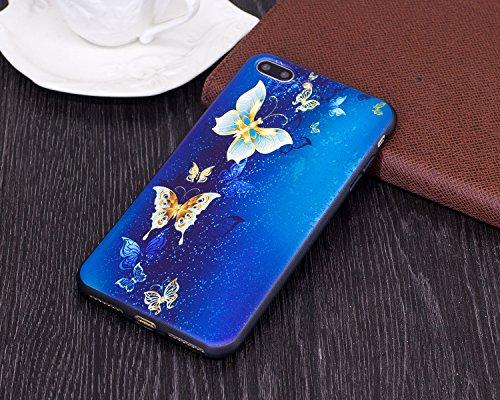 Silicone Custodia per iPhone 7 Plus/iPhone 8 Plus (5.5), EUWLY Colorato 3D Modello Style Protettiva TPU Custodia Cassa per [iPhone 7 Plus/iPhone 8 Plus (5.5)], Nero Protettiva Cover Case Ultra Sotti Farfalla Oro