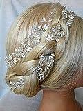 Aukmla: lange Hochzeit-Haarranke mit silbernen perlen, Haarschmuck für Frauen und Mädchen, 70cm