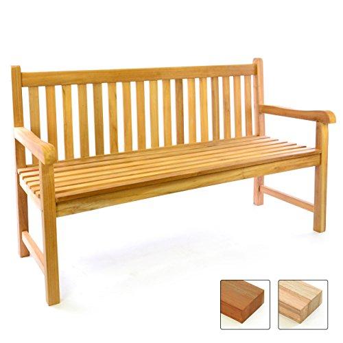Divero 3-Sitzer Gartenbank 150 cm aus hochwertigem massivem Teak-Holz Reine Handarbeit Sitzbank für 3-Personen