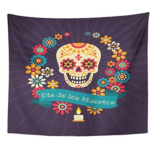 Mandala Home Decor Bunte Dia De Los Muertos Mit Zucker Festliche Schädel Kranz Von Blumen Band Für Schlafzimmer Wohnzimmer Schlafsaal ()
