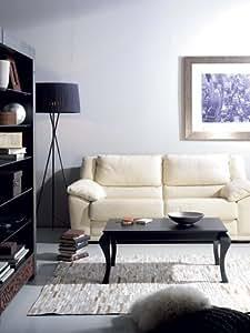Table basse relevable contemporaine CAMERON, coloris noir satiné, blanc satiné ou patiné gris plomb Noir satiné