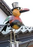 Rabe für die Dachrinne 30 cm Bunt Vogel aus Metall 2344 Dachschmuck Gartendeko