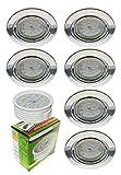 Trango 6er Set ultra flache LED Einbaustrahler Einbauleuchten Deckenstrahler in chrom-hochglanz incl. 6x dimmbarem LED Modul nur 30mm Einbautiefe TG6729-068MOSD