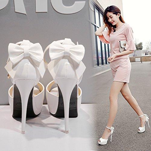 GTVERNH-white uno spessore di dodici centimetri super scarpe con tacchi notte in negozio con donna sandali basso aiuto superficiale bocca una parola sola scarpa tipo buckle,trentotto Thirty-seven