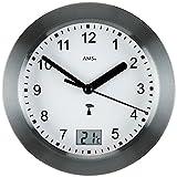 AMS Wanduhr - AMS Baduhr Badezimmeruhr Funk anthrazit wasserdicht mit Thermometer