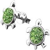 JAYARE Kinder Ohrstecker Schildkröten 925 Sterling Silber Glitzer Kristalle 11 x 8 mm grün im Geschenketui Mädchen Damen Ohrringe