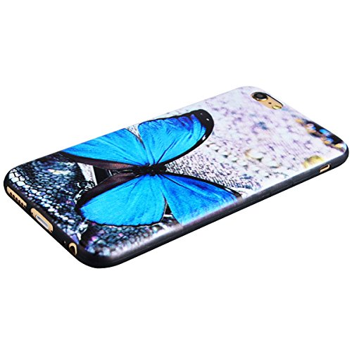 TPU Custodia Morbido per iPhone 6 Plus / iPhone 6S Plus (5.5 pollici), HB-Int 3 in 1 Nero Disegno Elegante borsa Custodia in Silicone Gel Accessori di Protettiva Cassa Caso Anti Scivolo Bumper Coperti Farfalla Blu