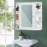 COSTWAY Armario con Espejo de Baño de Pared Baño Estante Mueble Almacenamiento