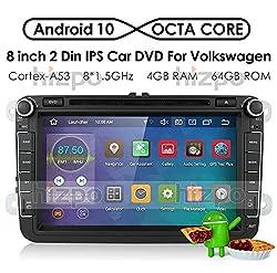 hizpo Android 10 Autoradio DVD-Player GPS Can-Bus Mirrorlink Bluetooth OBD2 8-Zoll-Multi-Touchscreen-Rückfahrkamera für Volkswagen VW Golf Polo Passat Tiguan Jetta