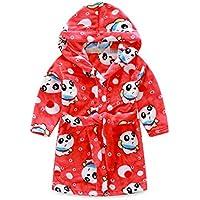 Peignoir enfant à capuche en peluche doux peignoir Cartoon Peignoir Robe rouge chaud Panda