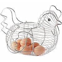 Chicken Shaped Display Egg Basket Kitchen Egg Holder Storage Rack Chrome Plated