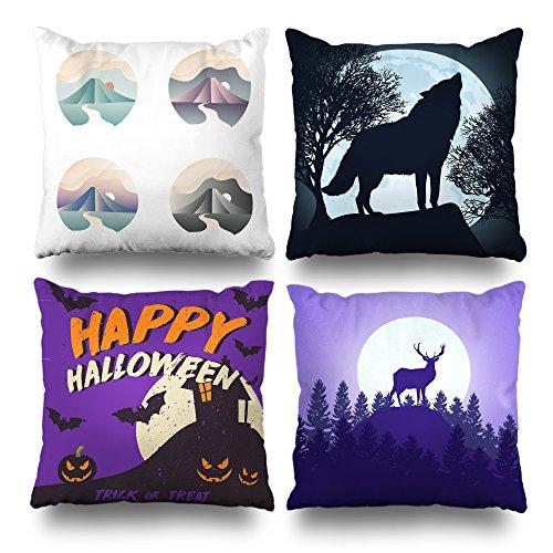 Suesoso Dekorative Kissen Fall Modern Einfache Geometrische Stil Colorful Heulender Wolf Moon Happy Halloween Violett Deer Serie Überwurf Kissenbezügen, 45,7x 45,7cm, Set 4 16 x 16 Colour5 (Button Moon Kostüm)