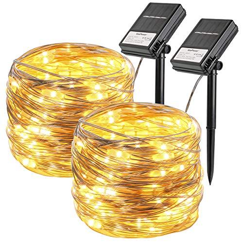 Koopower 2Stk 100 LED 10M Solar Lichterkette, Solar und Batteriebetriebene Wasserdichte Lichterketten, Innen und Außen Lichterkette für Garten Weihnachten Hochzeit Party,Warmweiß