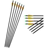 12Pcs 80cm Tir à l'arc Flèches de fibre de verre Spine 500 Arc composé recourbé